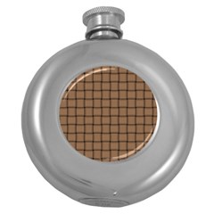 Cafe Au Lait Weave Hip Flask (round)