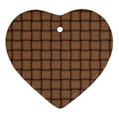 Cafe Au Lait Weave Heart Ornament (two Sides)