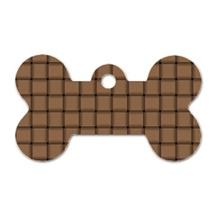 Cafe Au Lait Weave Dog Tag Bone (Two Sided)