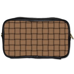 Cafe Au Lait Weave Travel Toiletry Bag (two Sides)
