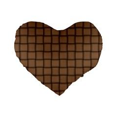 Cafe Au Lait Weave 16  Premium Heart Shape Cushion