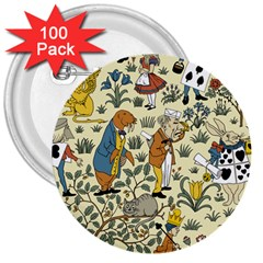 Alice In Wonderland 3  Button (100 pack)