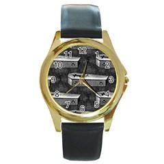 Coffin Round Metal Watch (Gold Rim)