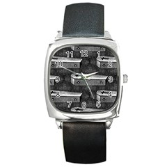 Coffin Square Leather Watch