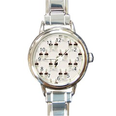 Female Eye Round Italian Charm Watch