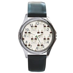 Female Eye Round Metal Watch (Silver Rim)
