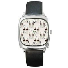 Female Eye Square Leather Watch