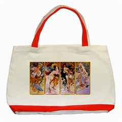 Four Seasons By Alphonse Mucha 1895 Classic Tote Bag (Red)