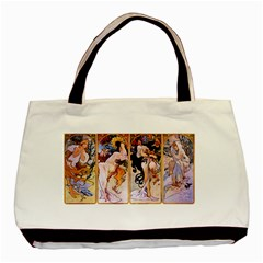 Four Seasons By Alphonse Mucha 1895 Twin-sided Black Tote Bag