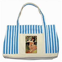 Job Advertisement By Alfons Mucha 1898  Blue Striped Tote Bag