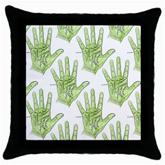 Palmistry Black Throw Pillow Case
