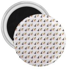 Retro Poodles  3  Button Magnet