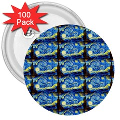 Starry Night By Vincent Van Gogh 1889  3  Button (100 pack)