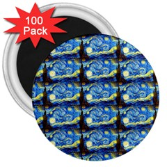 Starry Night By Vincent Van Gogh 1889  3  Button Magnet (100 pack)