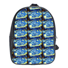 Starry Night By Vincent Van Gogh 1889  School Bag (Large)