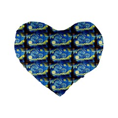 Starry Night By Vincent Van Gogh 1889  16  Premium Heart Shape Cushion