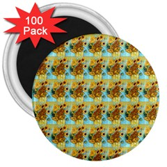 Vase With Twelve Sunflowers By Vincent Van Gogh 1889  3  Button Magnet (100 pack)