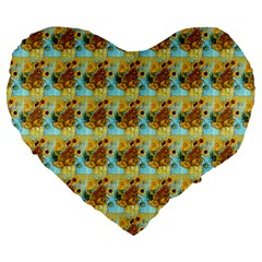 Vase With Twelve Sunflowers By Vincent Van Gogh 1889  19  Premium Heart Shape Cushion