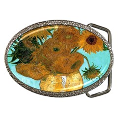 Vase With Twelve Sunflowers By Vincent Van Gogh 1889  Belt Buckle (Oval)