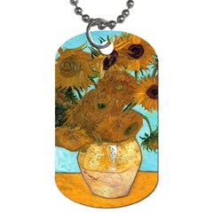Vase With Twelve Sunflowers By Vincent Van Gogh 1889  Dog Tag (Two Sided)