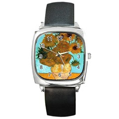 Vase With Twelve Sunflowers By Vincent Van Gogh 1889  Square Leather Watch