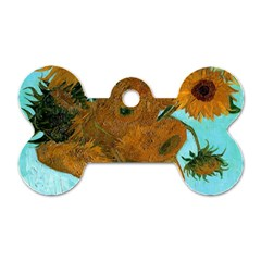 Vase With Twelve Sunflowers By Vincent Van Gogh 1889  Dog Tag Bone (One Sided)