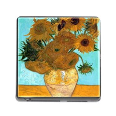 Vase With Twelve Sunflowers By Vincent Van Gogh 1889  Memory Card Reader with Storage (Square)