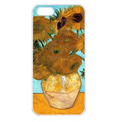 Vase With Twelve Sunflowers By Vincent Van Gogh 1889  Apple iPhone 5 Seamless Case (White)
