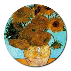 Vase With Twelve Sunflowers By Vincent Van Gogh 1889  8  Mouse Pad (Round)
