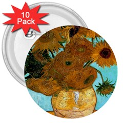 Vase With Twelve Sunflowers By Vincent Van Gogh 1889  3  Button (10 pack)