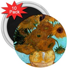Vase With Twelve Sunflowers By Vincent Van Gogh 1889  3  Button Magnet (10 pack)