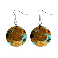 Vase With Twelve Sunflowers By Vincent Van Gogh 1889  Mini Button Earrings