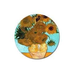 Vase With Twelve Sunflowers By Vincent Van Gogh 1889  Magnet 3  (Round)