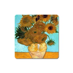 Vase With Twelve Sunflowers By Vincent Van Gogh 1889  Magnet (Square)