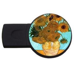 Vase With Twelve Sunflowers By Vincent Van Gogh 1889  2GB USB Flash Drive (Round)