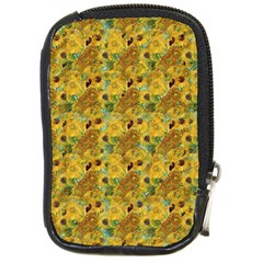 Vase With Twelve Sunflowers By Vincent Van Gogh 1889 Compact Camera Leather Case