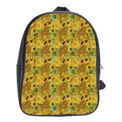 Vase With Twelve Sunflowers By Vincent Van Gogh 1889 School Bag (Large)