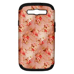 Vintage Flowers Samsung Galaxy S III Hardshell Case (PC+Silicone)