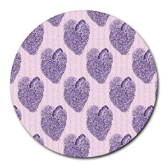 Vintage Heart 8  Mouse Pad (Round)