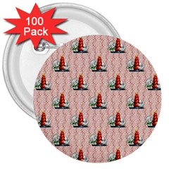 Vintage Kitty 3  Button (100 pack)
