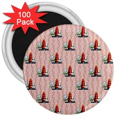 Vintage Kitty 3  Button Magnet (100 pack)