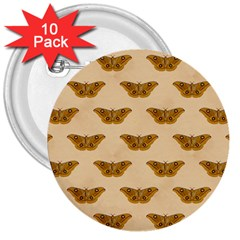 Vintage Moth 3  Button (10 pack)