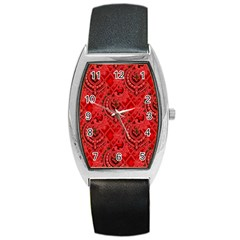 Vintage Wallpaper Tonneau Leather Watch