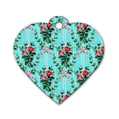 Vintage Wallpaper Dog Tag Heart (One Sided)