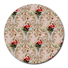 Vintage Wallpaper 8  Mouse Pad (Round)