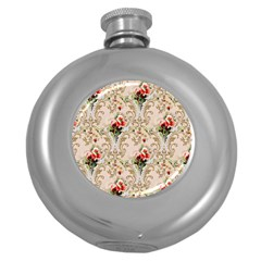 Vintage Wallpaper Hip Flask (Round)