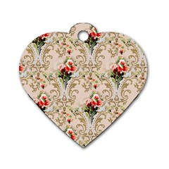 Vintage Wallpaper Dog Tag Heart (Two Sided)