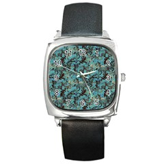 Vintage Wallpaper Square Leather Watch