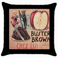 Buster Brown Black Throw Pillow Case