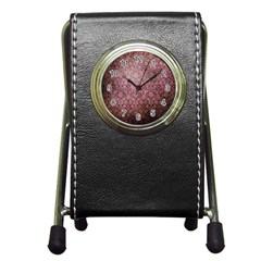 Vintage Wallpaper Stationery Holder Clock